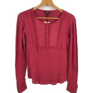 NWT Lucky Brand Red Embroidered Thermal Top